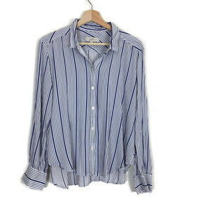 Ann Taylor LOFT Stripe Button Down Shirt Blue